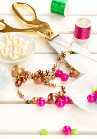 jewel hands: Workplace of jewellery  maker close-up Stock Photo