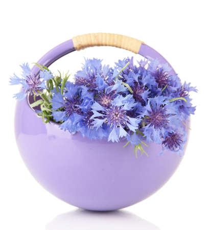 Beautiful bouquet of cornflowers in basket, isolated on white photo
