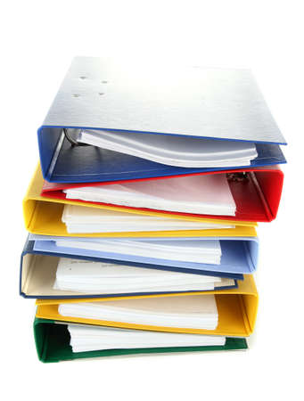 Bright office folders isolated on white photo