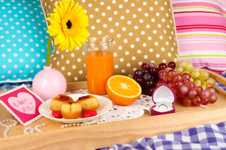 amorousness: Breakfast in bed on Valentines Day close-up