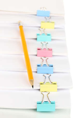 Documents with binder clips close up