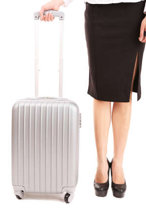 businesswoman legs: Businesswoman legs with suitcase isolated on white