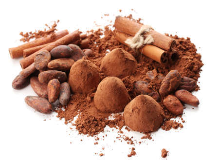 comfit: Chocolate truffles, cocoa and spices isolated on white