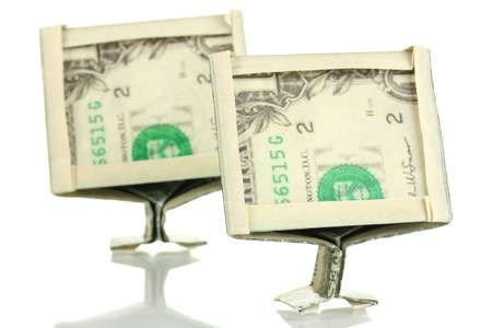 two dollar bill: Dollars folded into computer monitors isolated on white