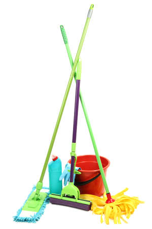 office cleanup: Mops, plastic bucket and rubber gloves, isolated on white