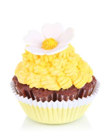cupcakes isolated: Delicious beautiful cupcake isolated on white