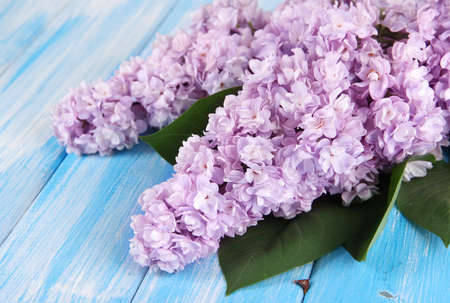 Beautiful lilac flowers on table close-up photo