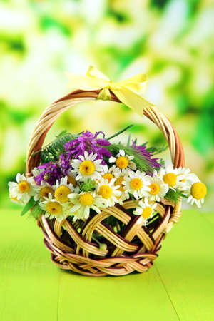 Wild flowers and spikelets in basket, on green background photo
