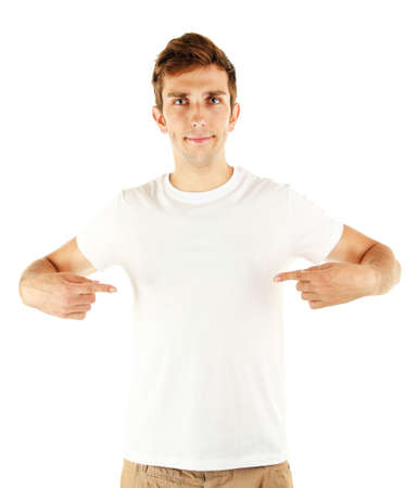 T-shirt on young man isolated on white photo