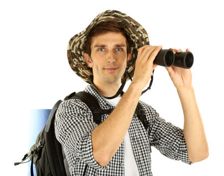 Young hiker man tourist with binocular, isolated on white photo