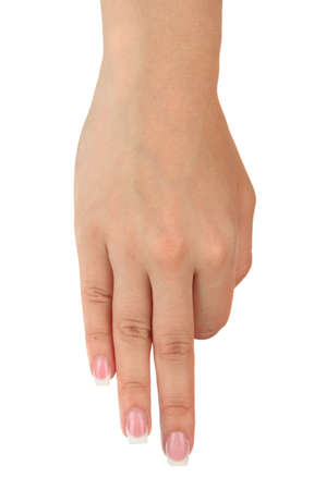 asl: Finger Spelling the Alphabet in American Sign Language (ASL). Letter M Stock Photo