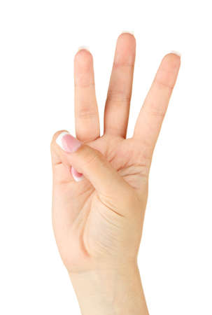 asl: Finger Spelling the Alphabet in American Sign Language (ASL). Letter W Stock Photo