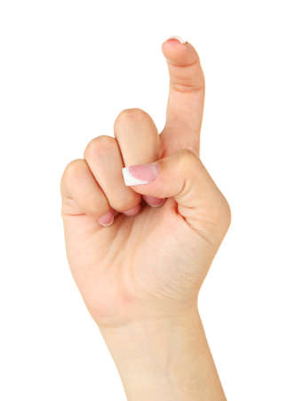 asl: Finger Spelling the Alphabet in American Sign Language (ASL). Letter X Stock Photo
