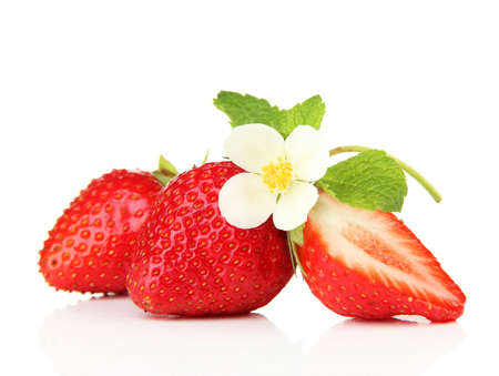 Ripe sweet strawberries and flower, isolated on white
