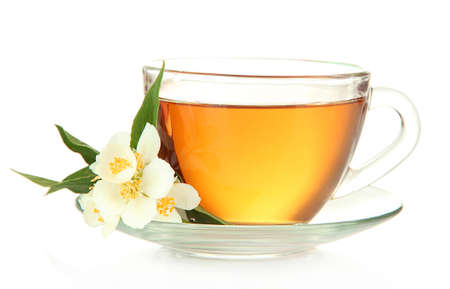 Cup of tea with jasmine, isolated on white Stock Photo