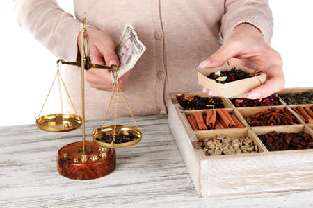 herbal knowledge: Sale of tea and different spices Stock Photo