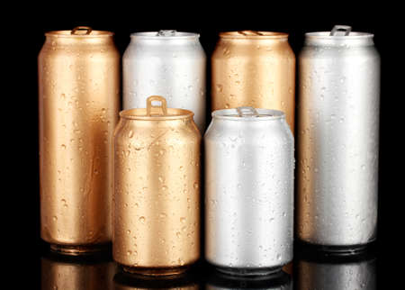 solver: Aluminum cans with water drops isolated on black