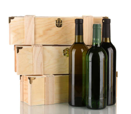 Wooden boxes for wine, isolated on white photo