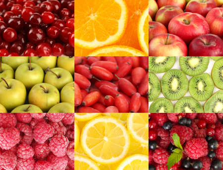 Collage with tasty  fruits photo