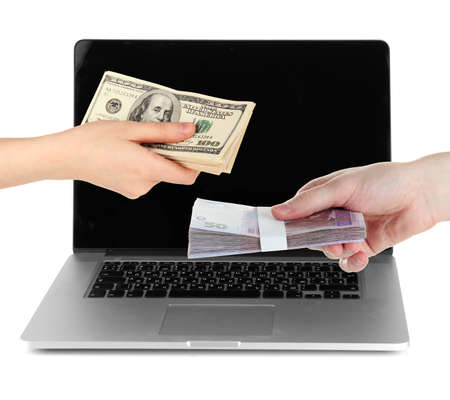 dollarbill: Two people exchange currency on laptop background isolated on white