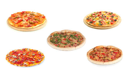 Pizza set isolated on white photo