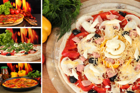 pizza oven: Pizza collage