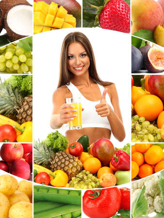 Beautiful young woman with fruits and vegetables and glass of juice photo