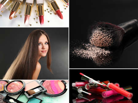 collage caras: Collage de maquillaje Foto de archivo