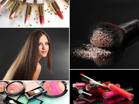 stílus: Make-up kollázs Stock fotó