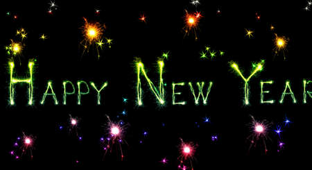 Sparkling inscription of Happy New Year on a black background photo