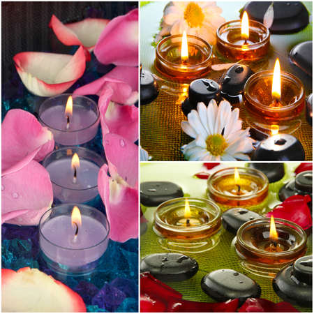Spa collage with stones and candles photo