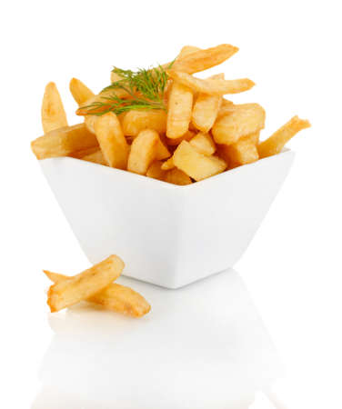 french fries: French fries in bowl isolated on white