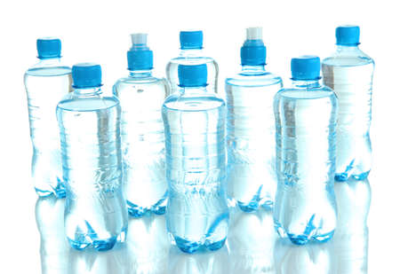 Different water bottles isolated on white Stock Photo - 20651714
