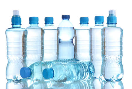Different water bottles isolated on white Stock Photo - 20651776