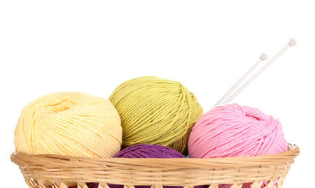 sewing box: Knitting yarn in basket isolated on white