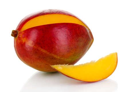 Ripe appetizing mango isolated on white Stock Photo - 20700469