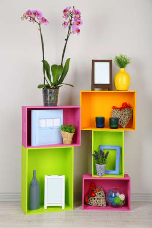 decor: Beautiful colorful shelves with different home related objects