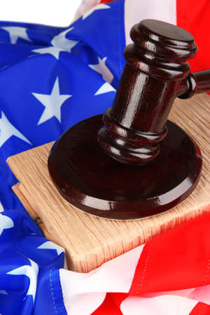 arbitrate: Judge gavel and books on american flag background Stock Photo