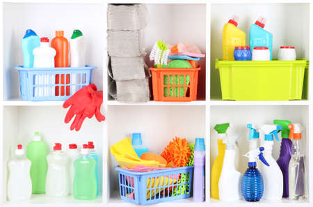 domestic garage: Shelves in pantry with cleaners for home close-up