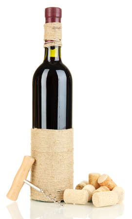 degustation: Wine and corks isolated on white