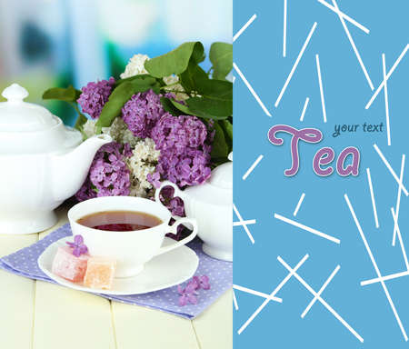 Composition with beautiful lilac flowers, tea service on wooden table on bright  background Stock Photo - 20783428