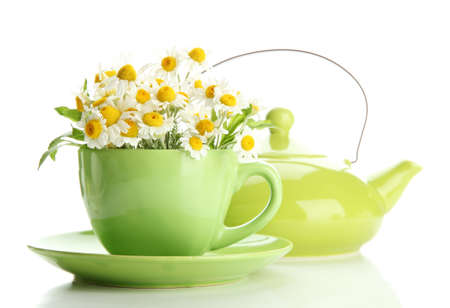 Beautiful wild camomiles and mint in cup and teapot, isolated on white photo