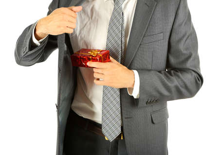 Young businessman present gift box, isolated on white photo