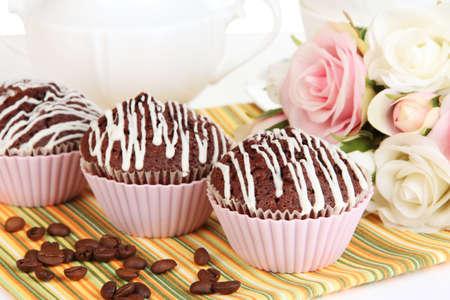 Sweet chocolate cupcakes close up photo