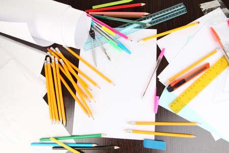pencils  clutter: Workplace of designer close-up