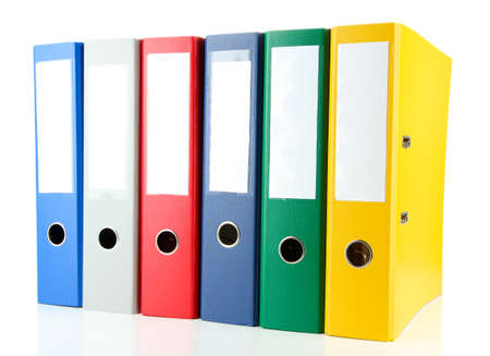 ring file: Bright office folders isolated on white Stock Photo