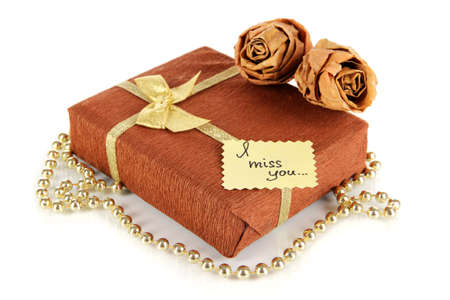miss you: Romantic parcel isolated on white