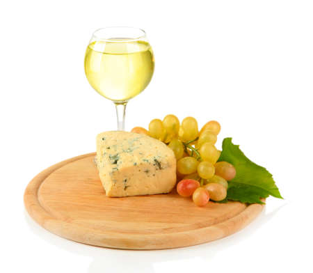 Glass of wine, tasty blue cheese and grape on cutting board, isolated on white Stock Photo