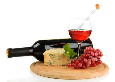 Wine, tasty blue cheese and grape, isolated on white photo