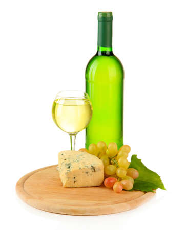 cheeseboard: Wine, tasty blue cheese and grape on cutting board, isolated on white Stock Photo
